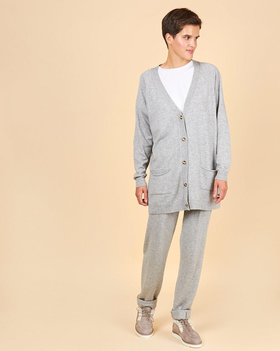 Фото - 12Storeez Костюм: кардиган и брюки (светло-серый) FW18-19 12storeez костюм кардиган и брюки тонкой вязки темно серый