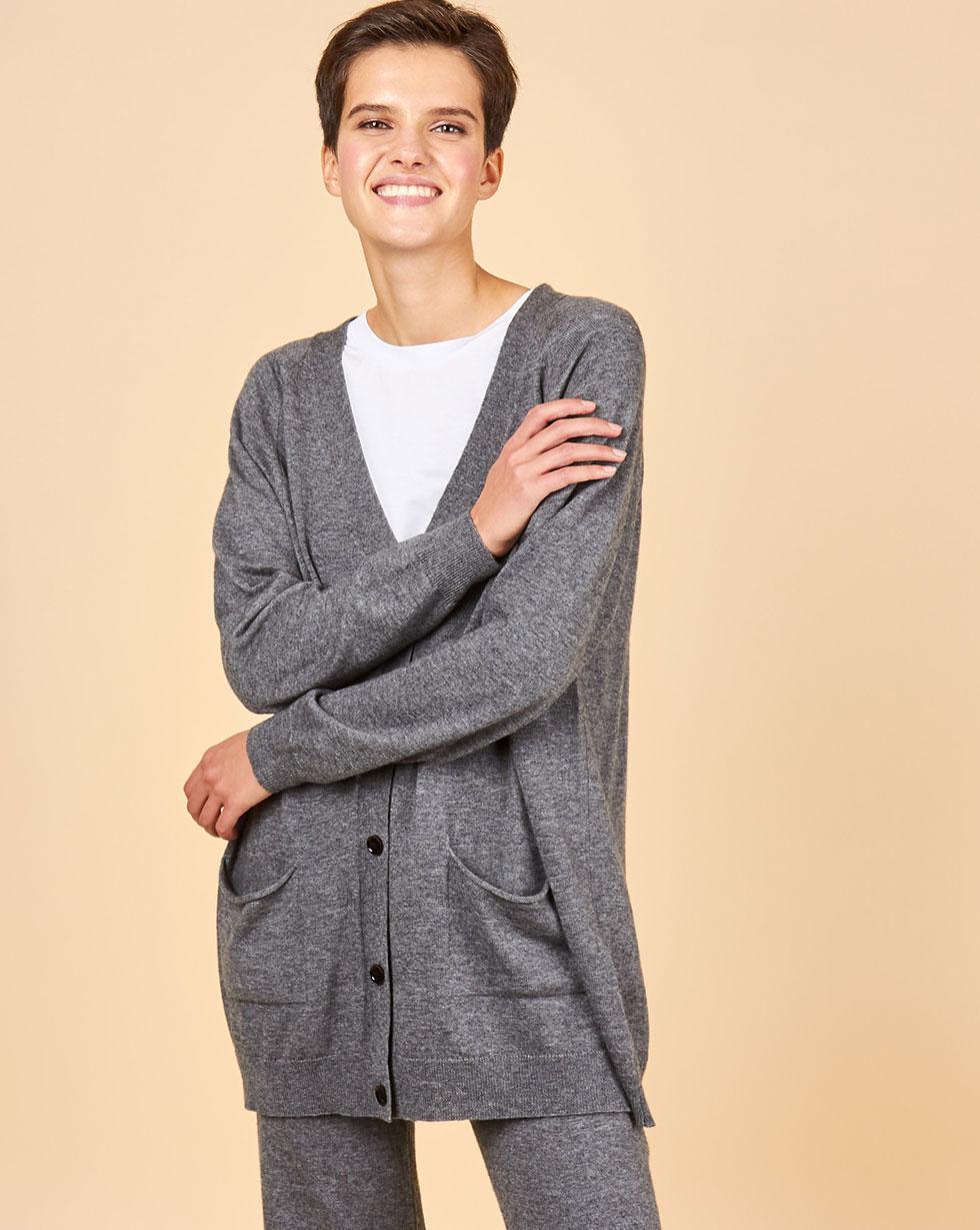 Фото - 12Storeez Костюм: кардиган и брюки (серый) FW18-19 12storeez костюм кардиган и брюки тонкой вязки темно серый
