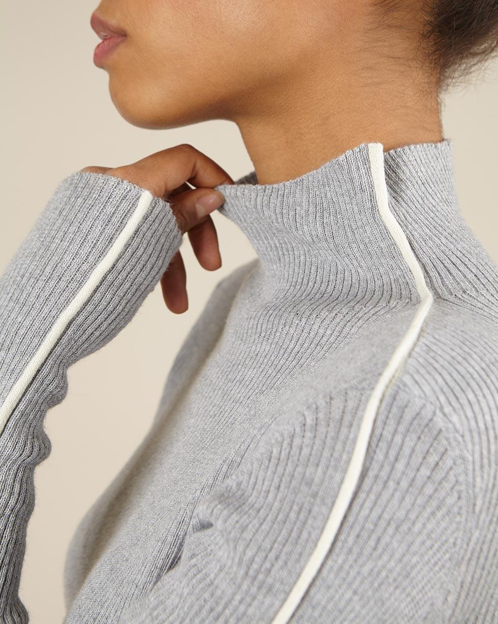 12Storeez Свитер тонкий с кантом (серый) 12storeez костюм свитер с зауженными брюками серый