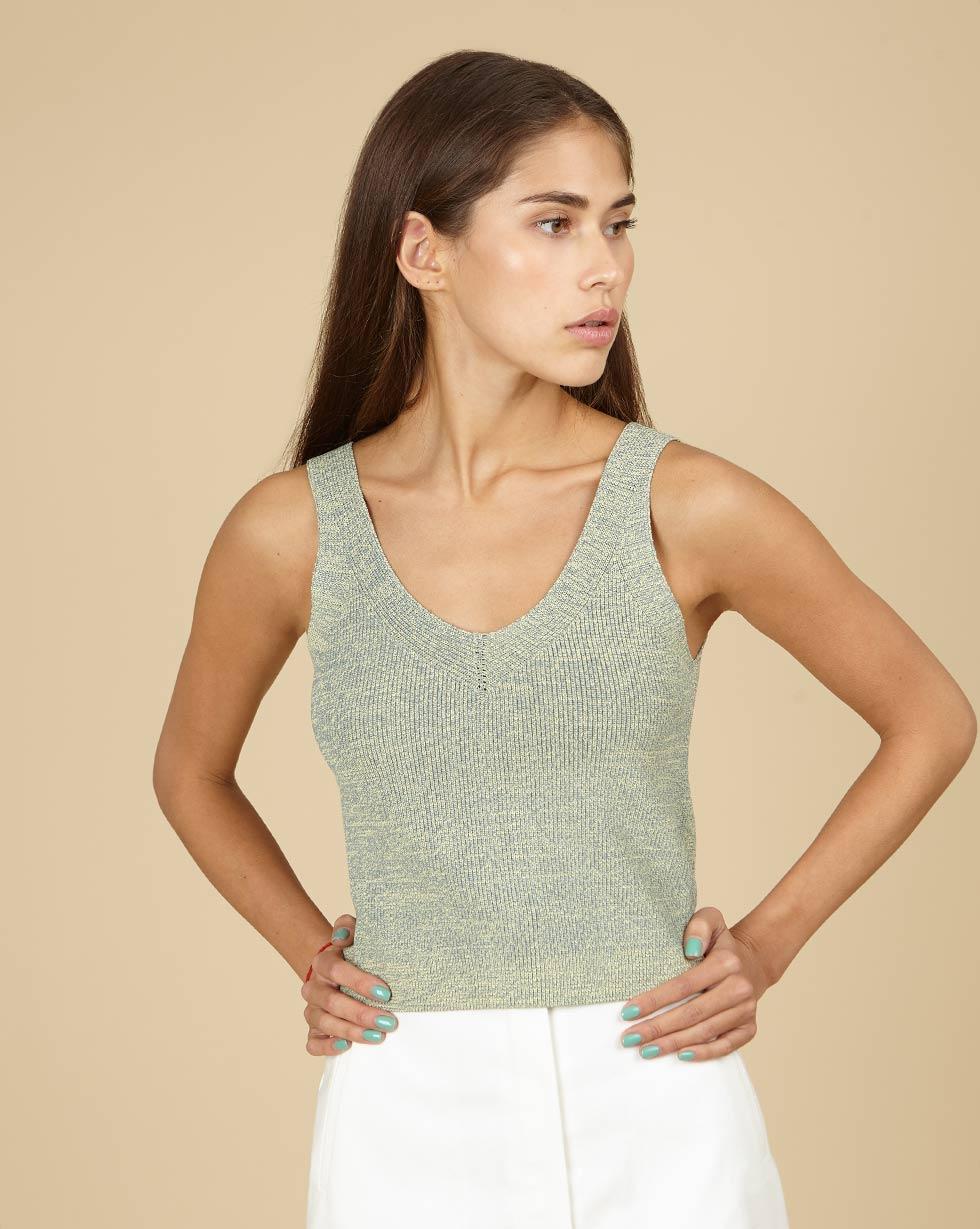 12Storeez Топ с V-образным вырезом (меланж мятный) пуловер большого размера с v образным вырезом из тонкого трикотажа