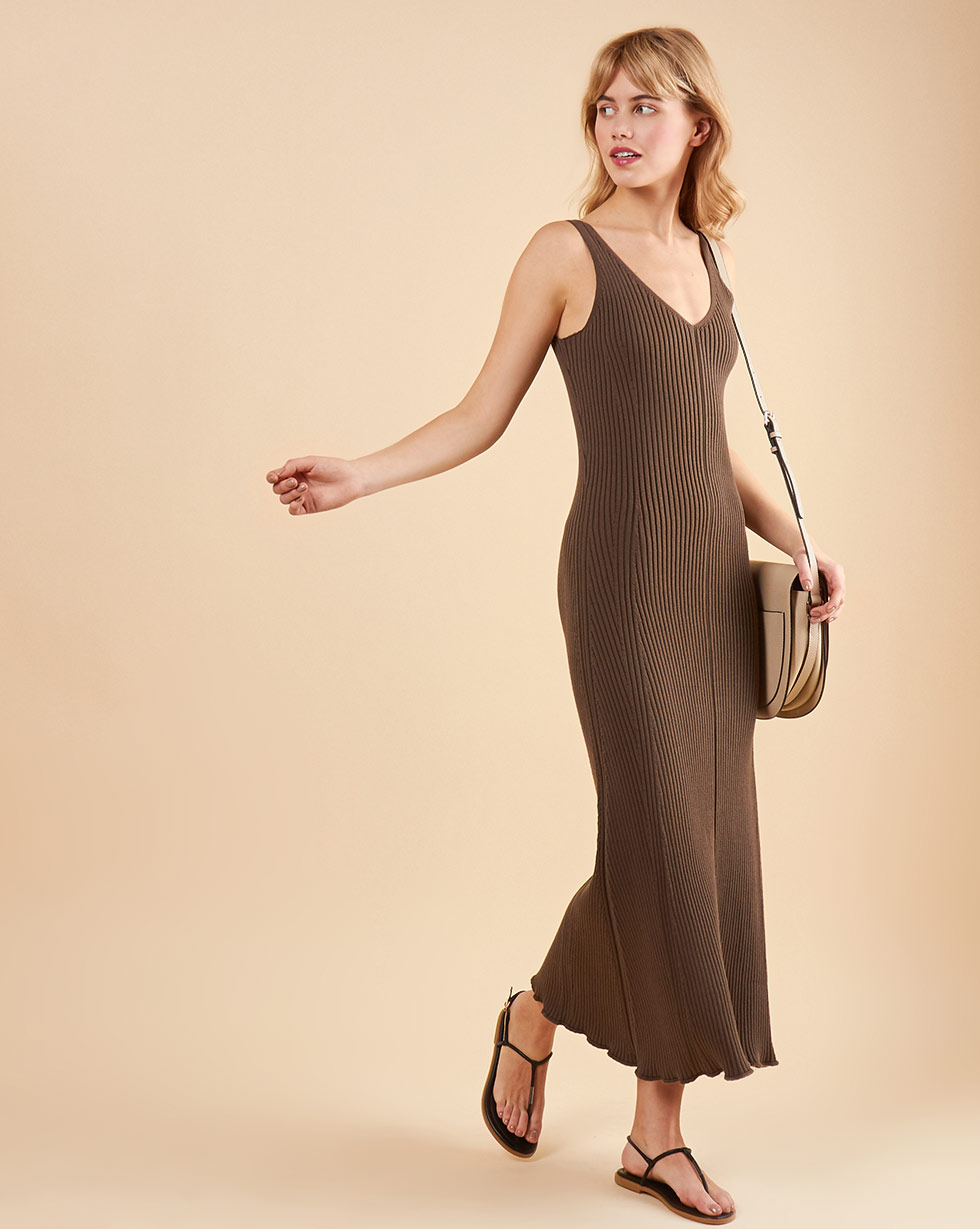 12Storeez Платье на широких бретелях из трикотажа (коричневый) 12storeez платье на широких бретелях из трикотажа бежевый
