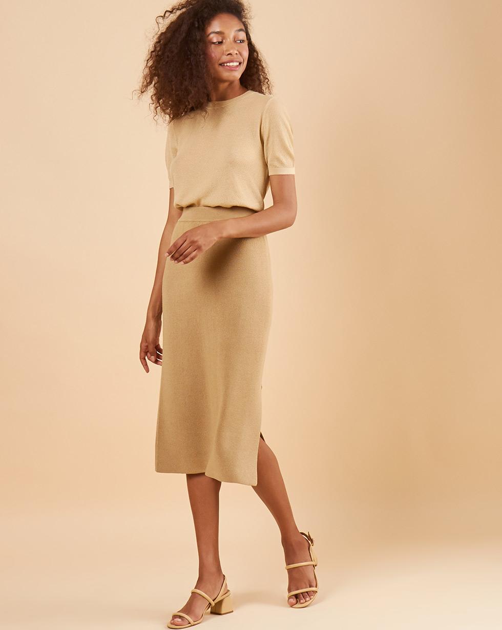 12Storeez Трикотажная юбка миди (бежевый) SS19 плотная трикотажная юбка карандаш