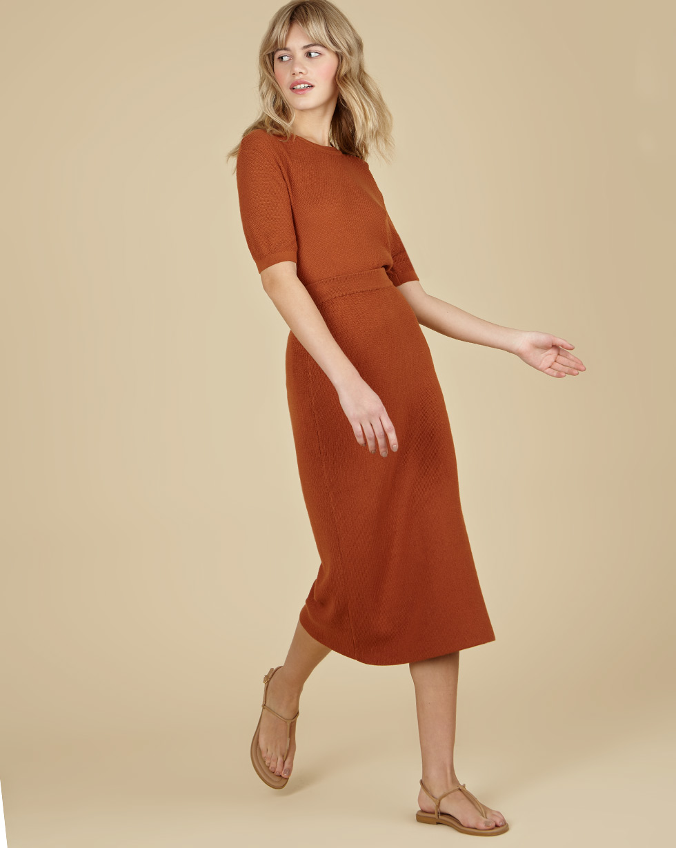 12Storeez Трикотажная юбка миди (коричневый) SS19 плотная трикотажная юбка карандаш