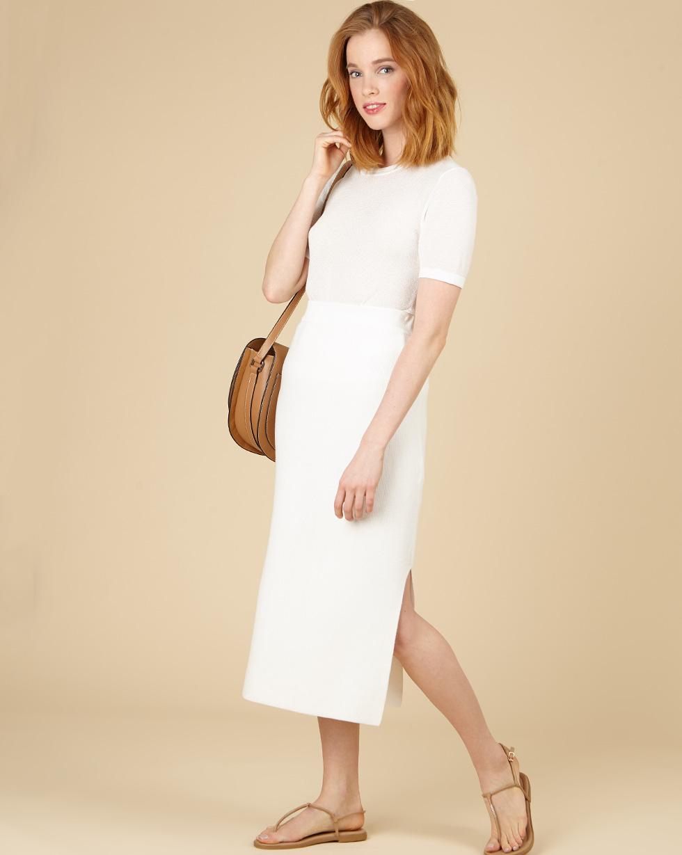 12Storeez Трикотажная юбка миди (молочный) SS19 12storeez трикотажная юбка миди бежевый ss19