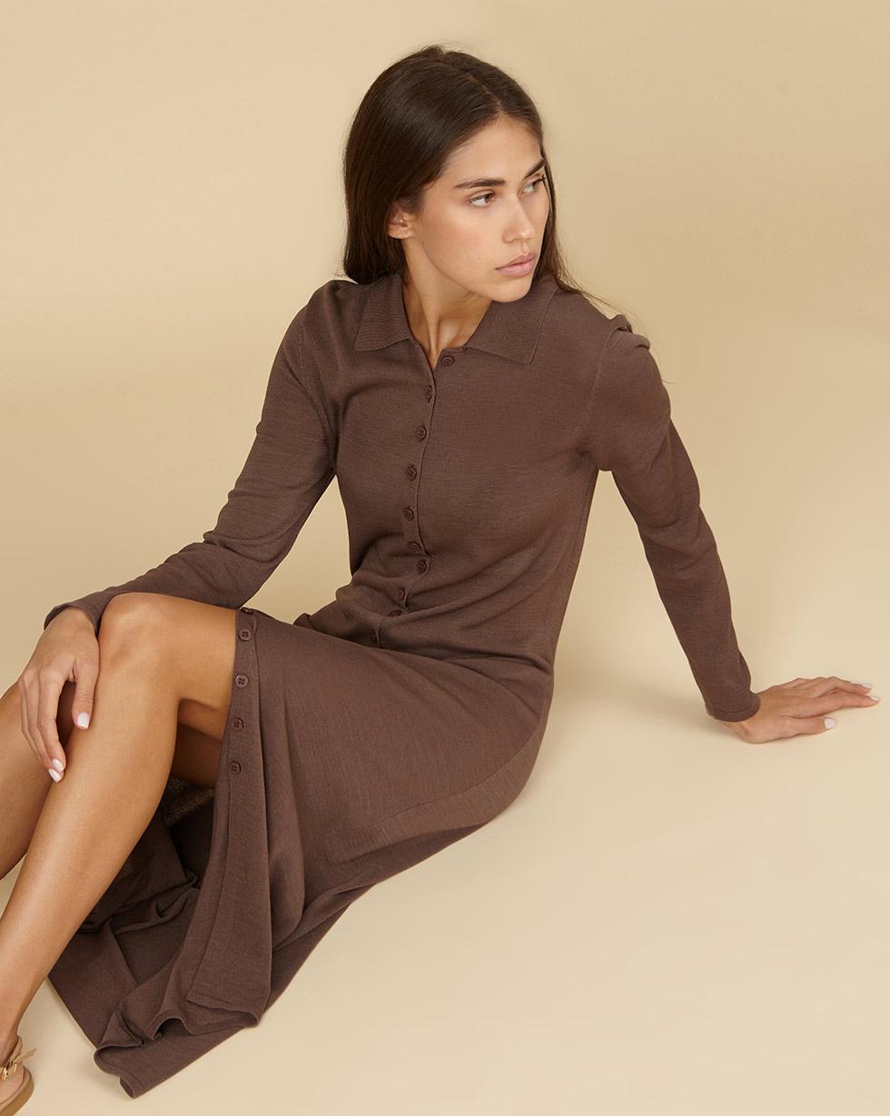 трикотажное платье миди на пуговицах в интернет магазине 12storeez