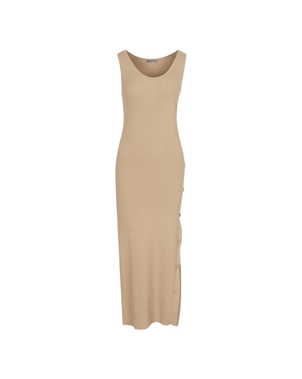 12Storeez Трикотажное платье с разрезом (бежевый) SS19 бусы турмалин огранка 50 см биж сплав