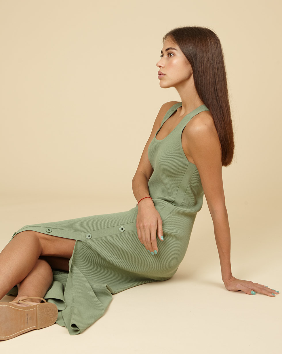 12Storeez Трикотажное платье с разрезом (мятный) SS19 12storeez трикотажное платье кардиган меланж мятный ss19