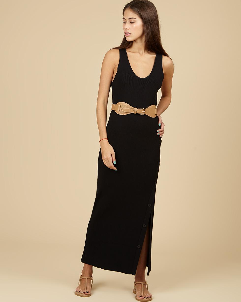 12Storeez Трикотажное платье с разрезом (черный) SS19 12storeez платье трикотажное без рукавов черное ss 2017