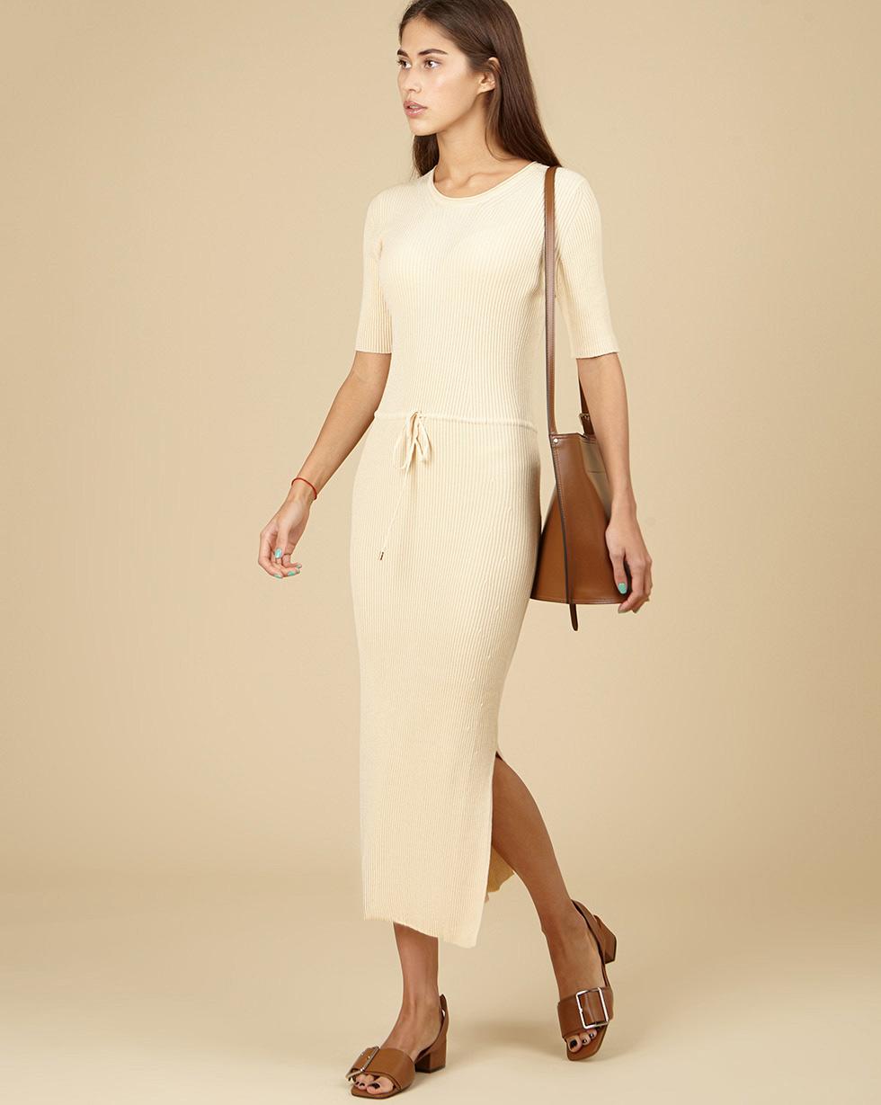 12Storeez Трикотажное платье с коротким рукавом (светло-бежевый) SS19 двухслойное платье с коротким рукавом european culture двухслойное платье с коротким рукавом