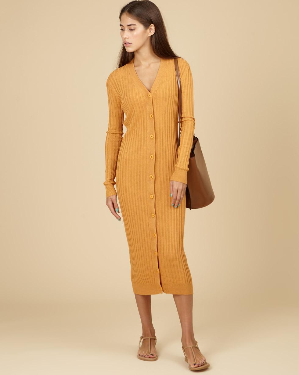 12Storeez Трикотажное платье-кардиган (меланж оранжевый) SS19 трикотажное платье с ажурным рисунком vilatte платья и сарафаны в полоску