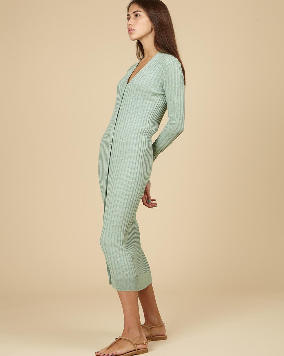 12Storeez Трикотажное платье-кардиган (меланж мятный) SS19 трикотажное платье с ажурным рисунком vilatte платья и сарафаны в полоску