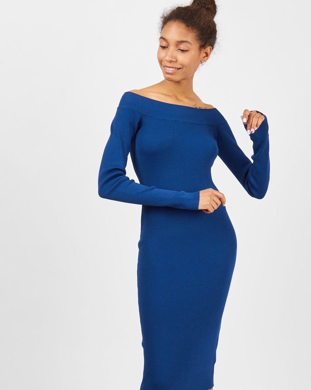 12Storeez Платье с открытыми плечами (морская волна) недорго, оригинальная цена