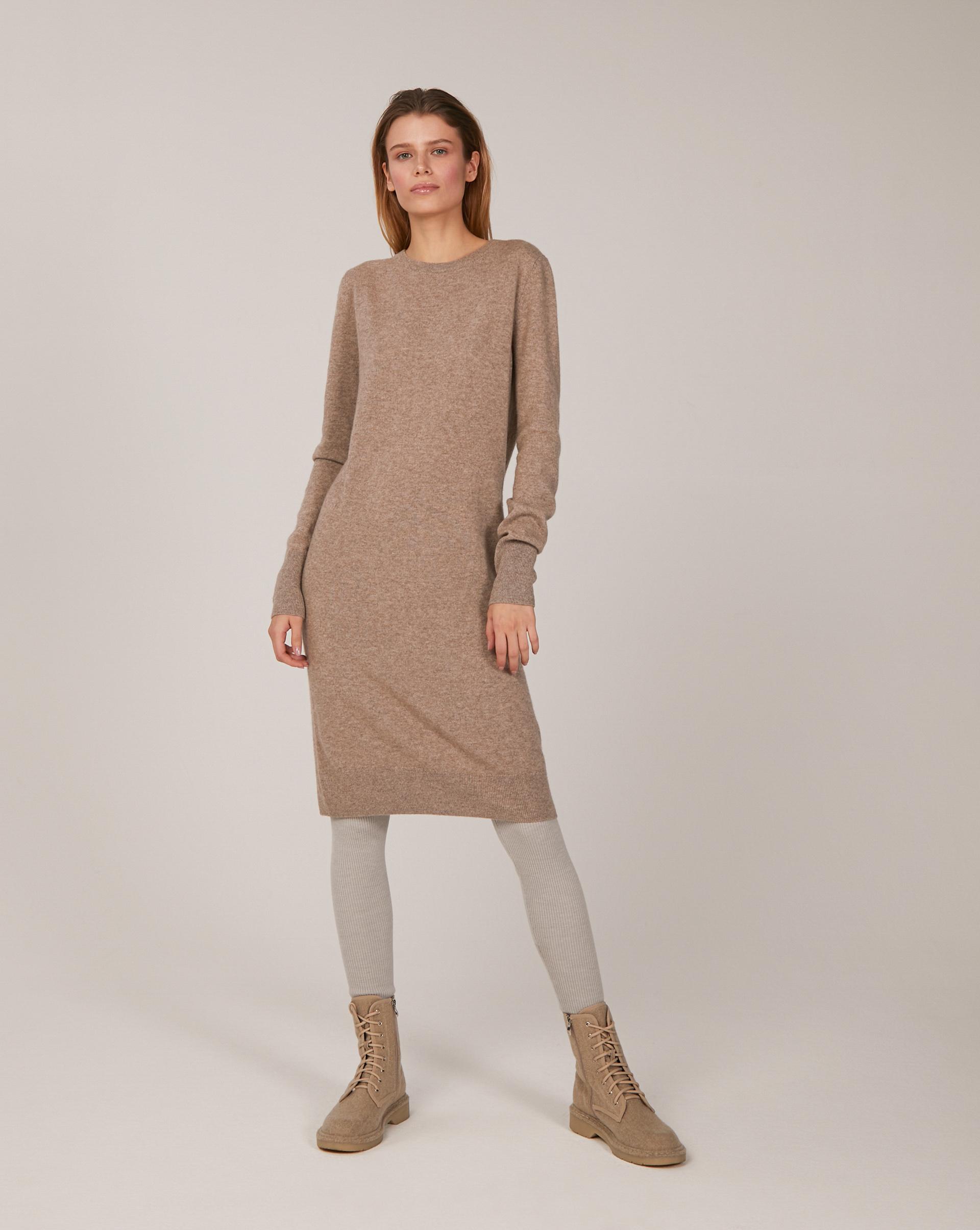 Платье с круглой горловиной из кашемира и шерсти