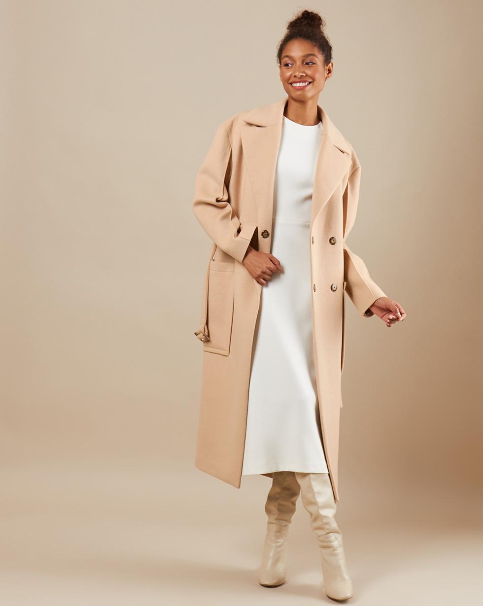 12Storeez Пальто V15-010 (Бежевый)