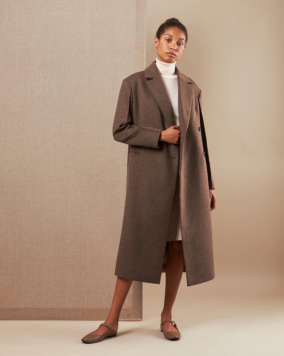 12Storeez Пальто V15-012 (Коричневый меланж)