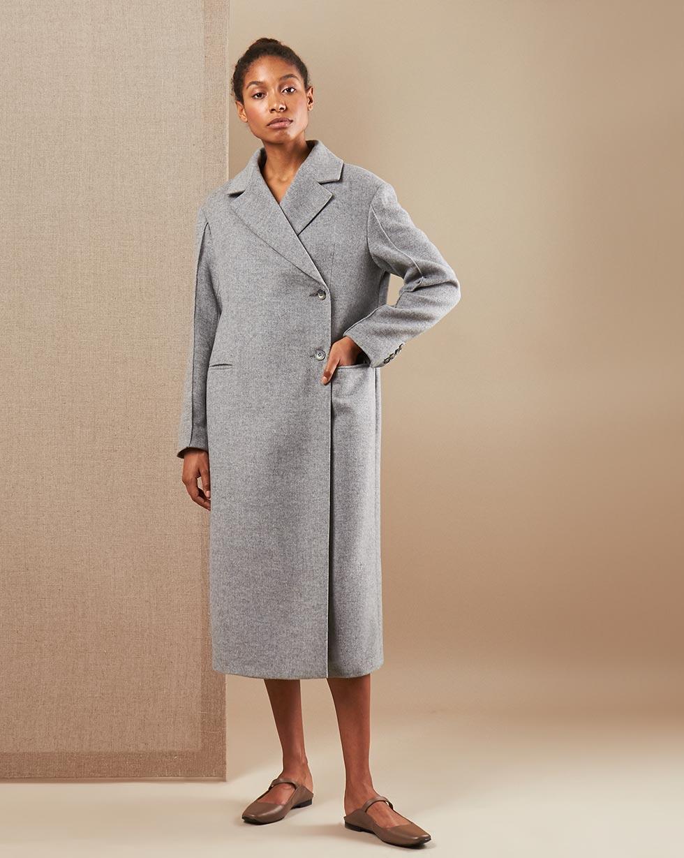 12Storeez Пальто V15-012 (Серый меланж)