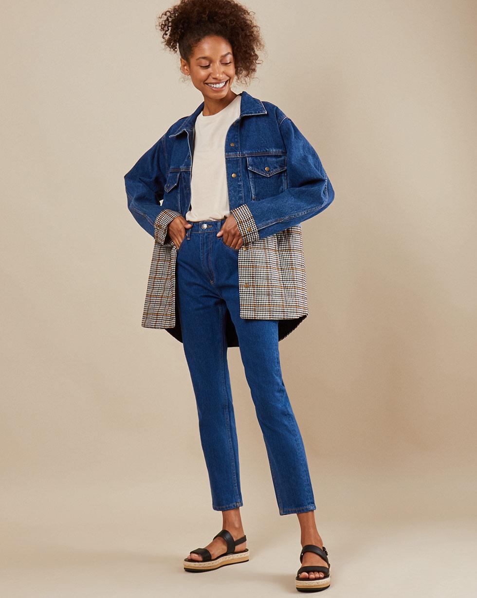 цена 12Storeez Куртка из денима D25-001 (Синий) онлайн в 2017 году
