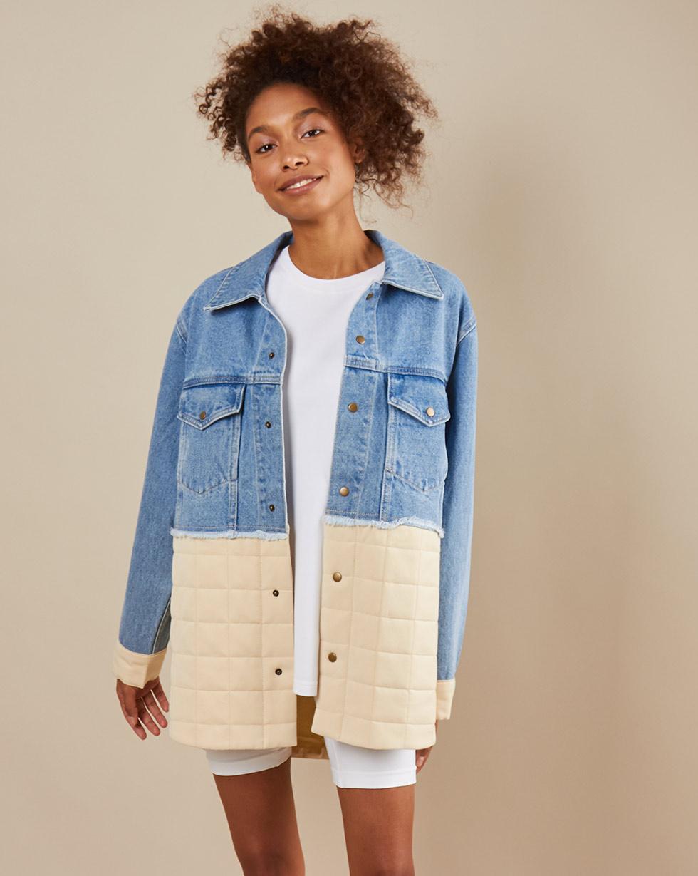 цена 12Storeez Куртка из денима D25-001 (Голубой) онлайн в 2017 году