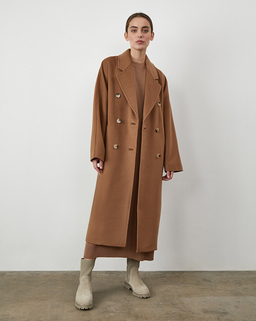12Storeez Пальто двубортное на поясе с шелком (Коричневый) 12storeez пальто двубортное на поясе темно оливковый