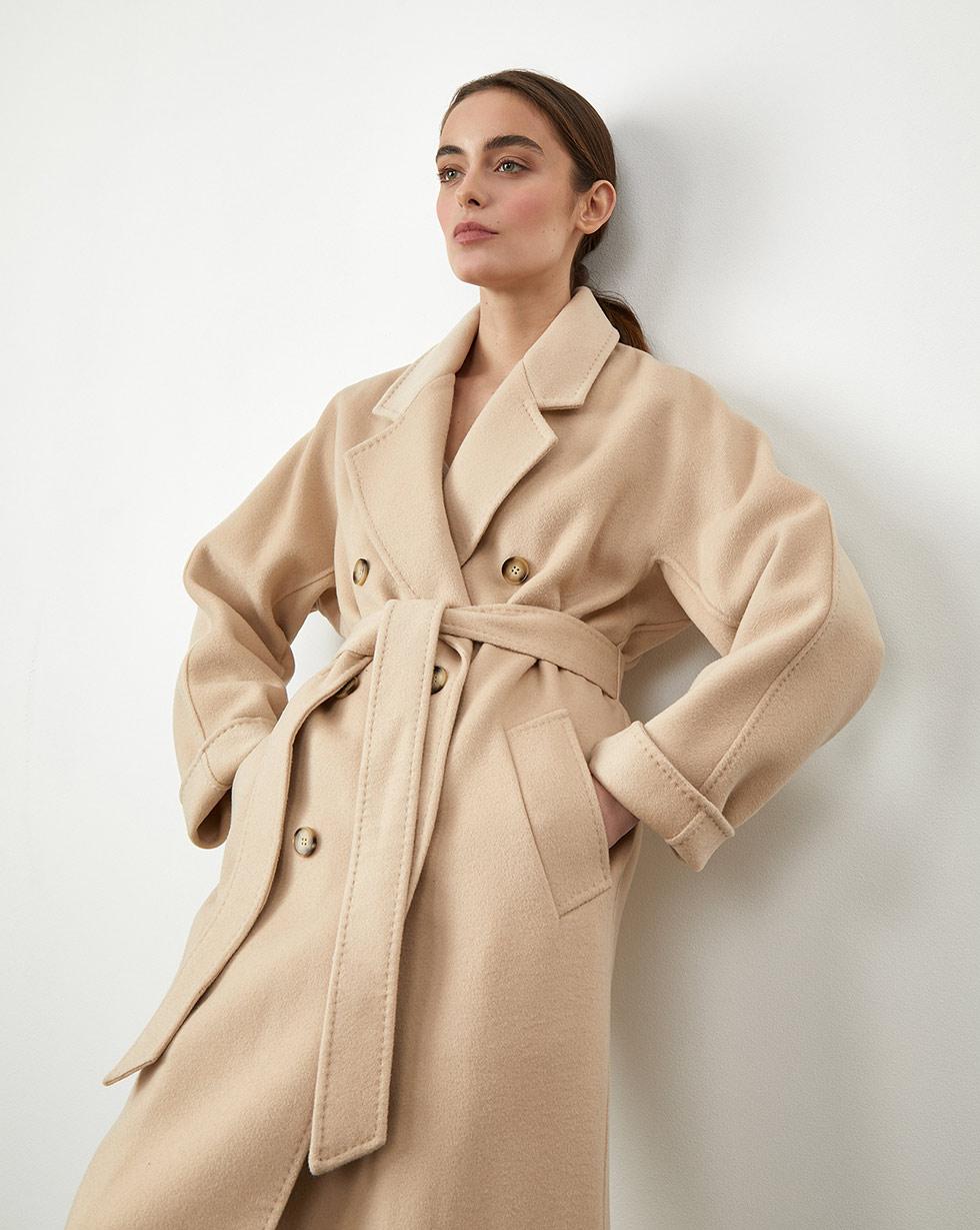 12Storeez Пальто двубортное на поясе с шелком (Бесцветный) 12storeez пальто двубортное на поясе темно оливковый