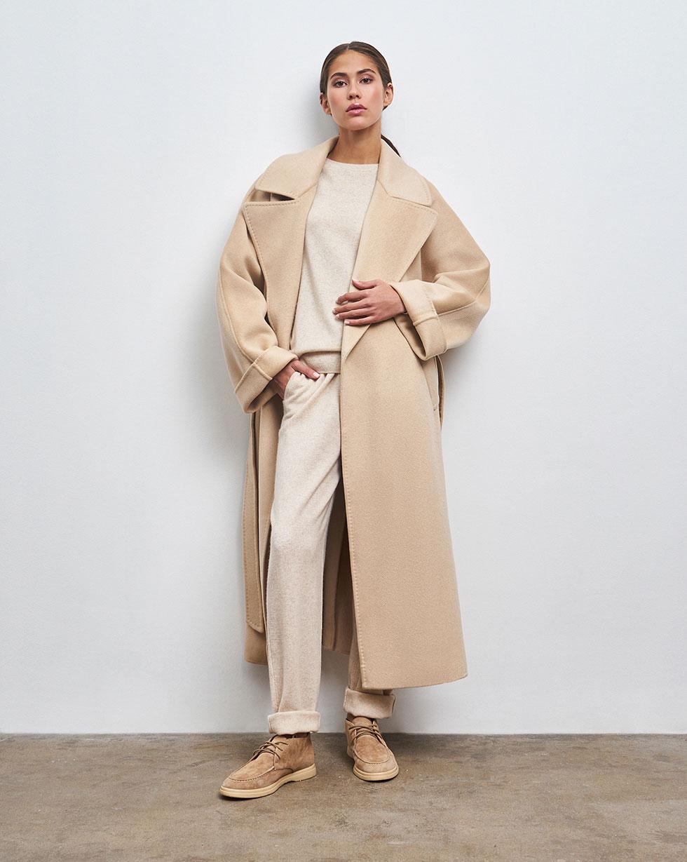 12Storeez Пальто на поясе (Бежевый)
