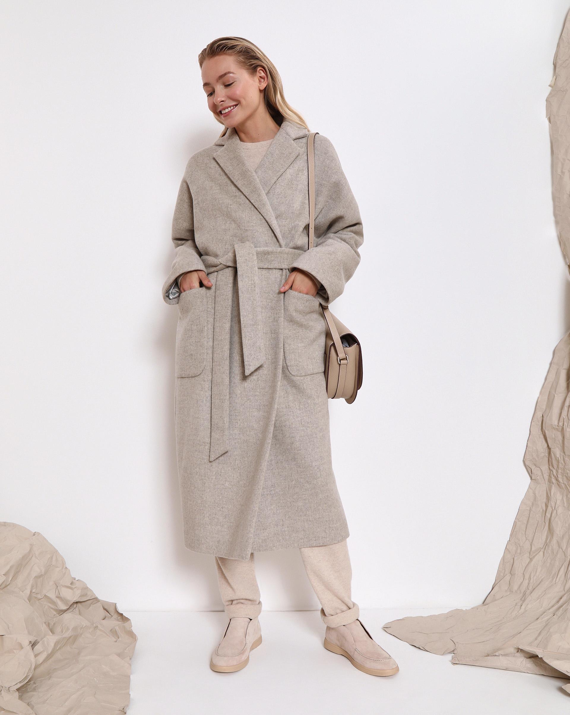 12⠀STOREEZ Пальто-халат с поясом, на подкладке