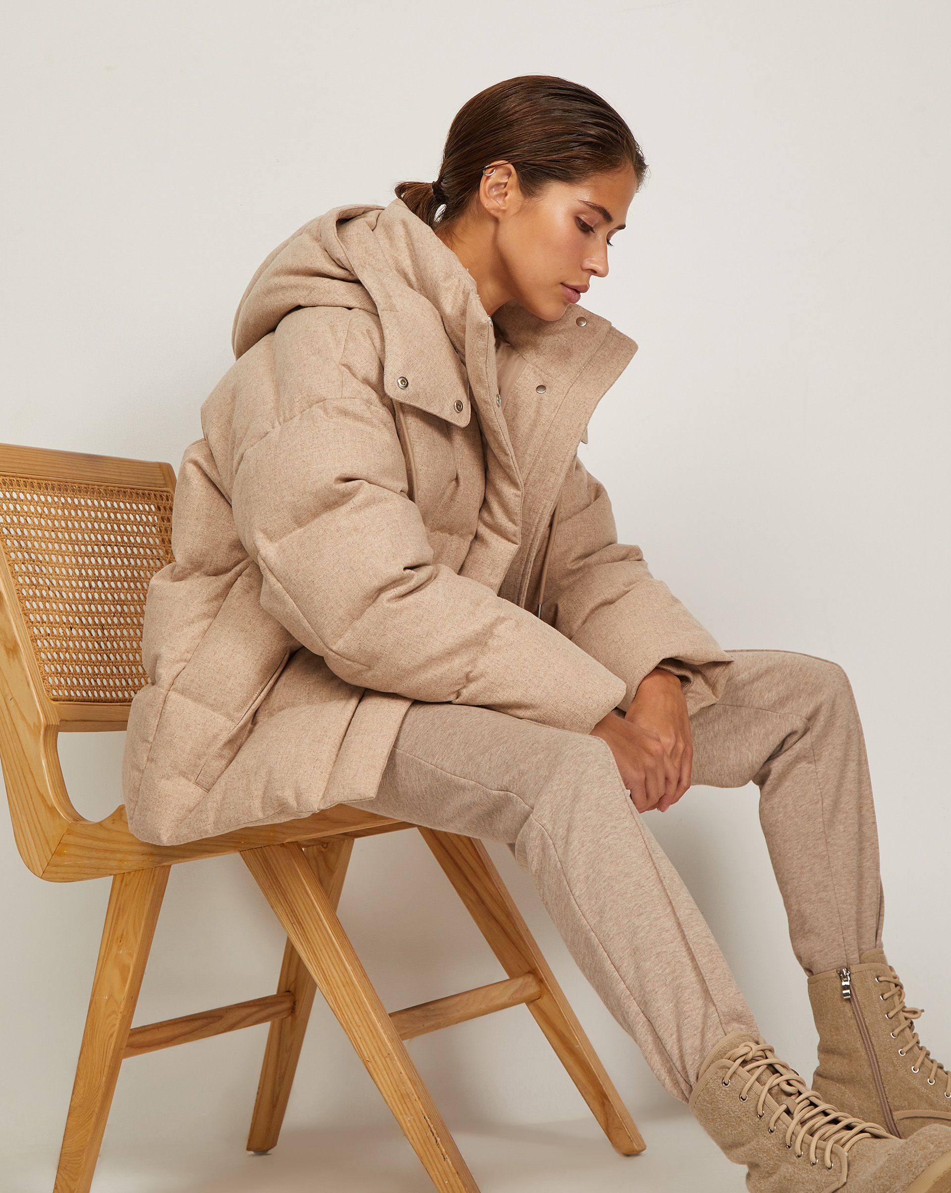 12⠀STOREEZ Куртка стеганая из шерсти с капюшоном
