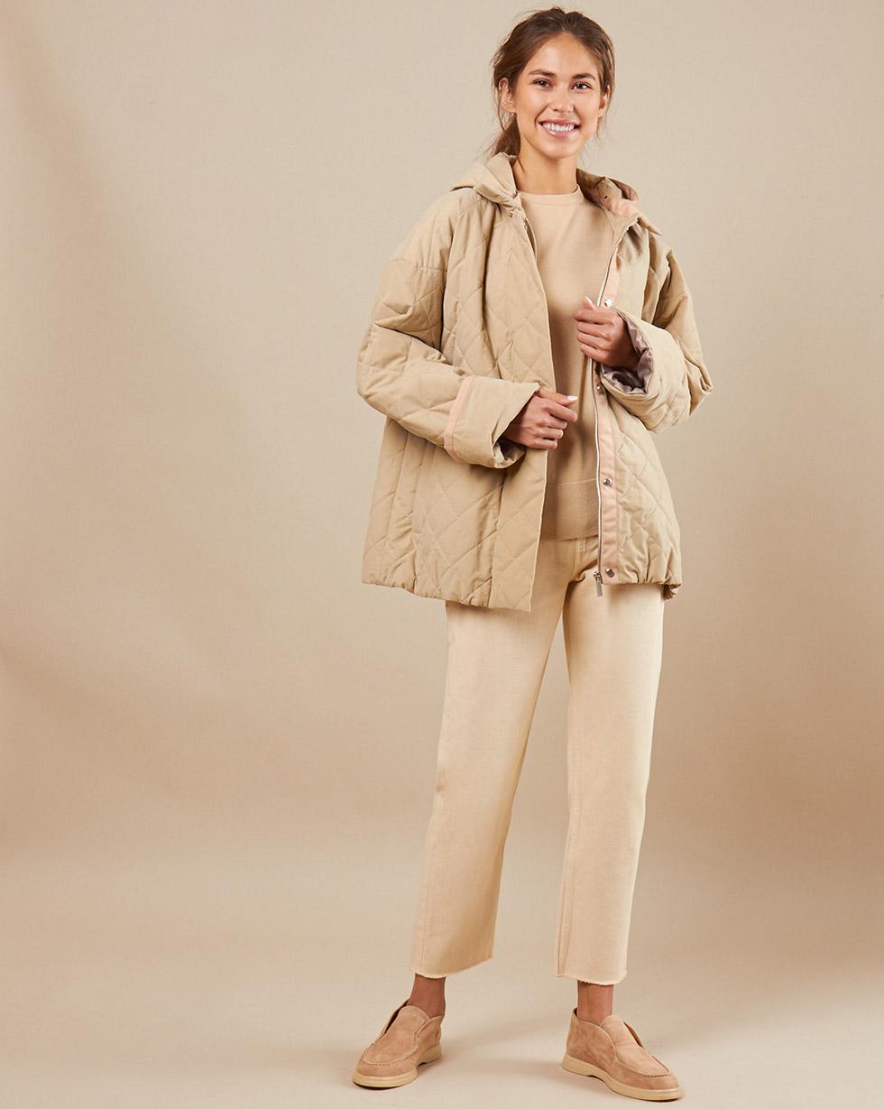 12Storeez Куртка стёганая со съёмным капюшоном (бежевый)