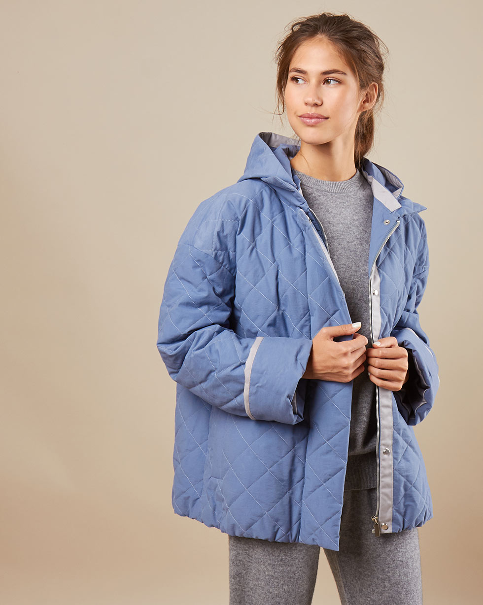 12Storeez Куртка стёганая со съёмным капюшоном (голубой) куртка с капюшоном со звездочками фиолетовая in extenso