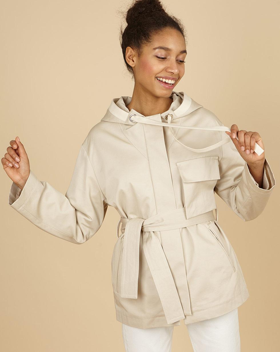 12Storeez Куртка с капюшоном и поясом(кремовый)