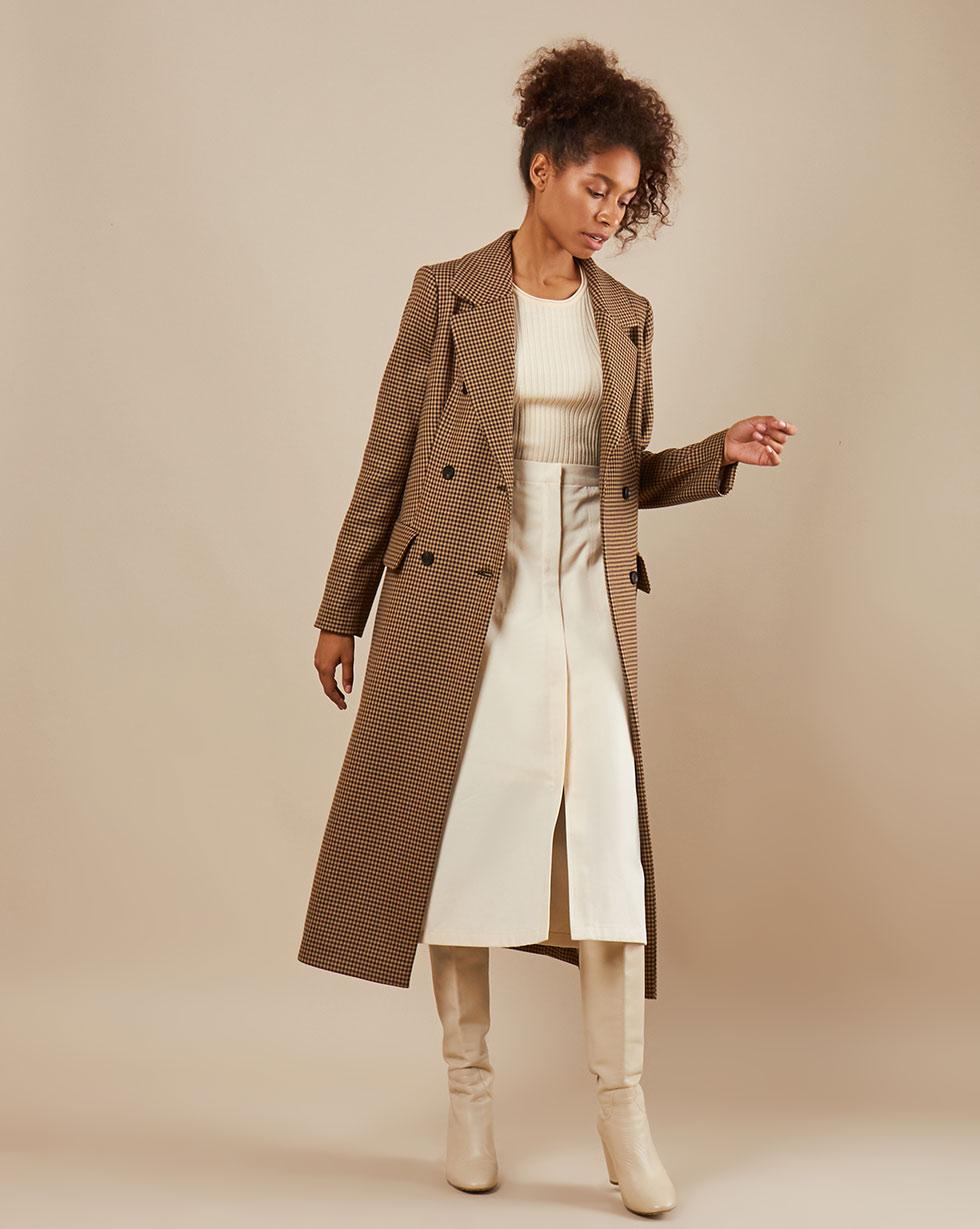 12Storeez Пальто облегчённое в клетку (коричневая клетка)