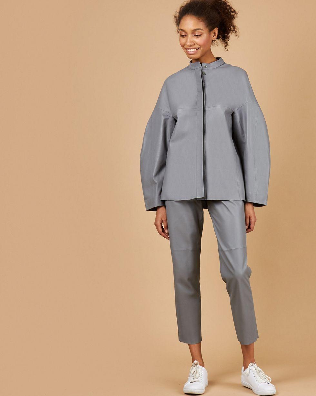 12Storeez Рубашка кожаная (серый)
