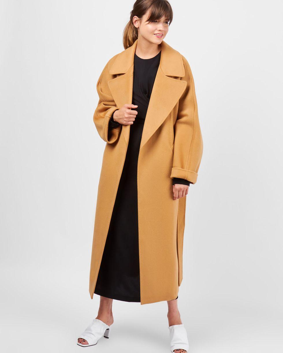 12Storeez Пальто на поясе (кэмел-горчичный)