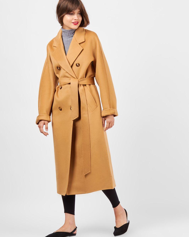 12Storeez Пальто двубортное на поясе (кэмел)