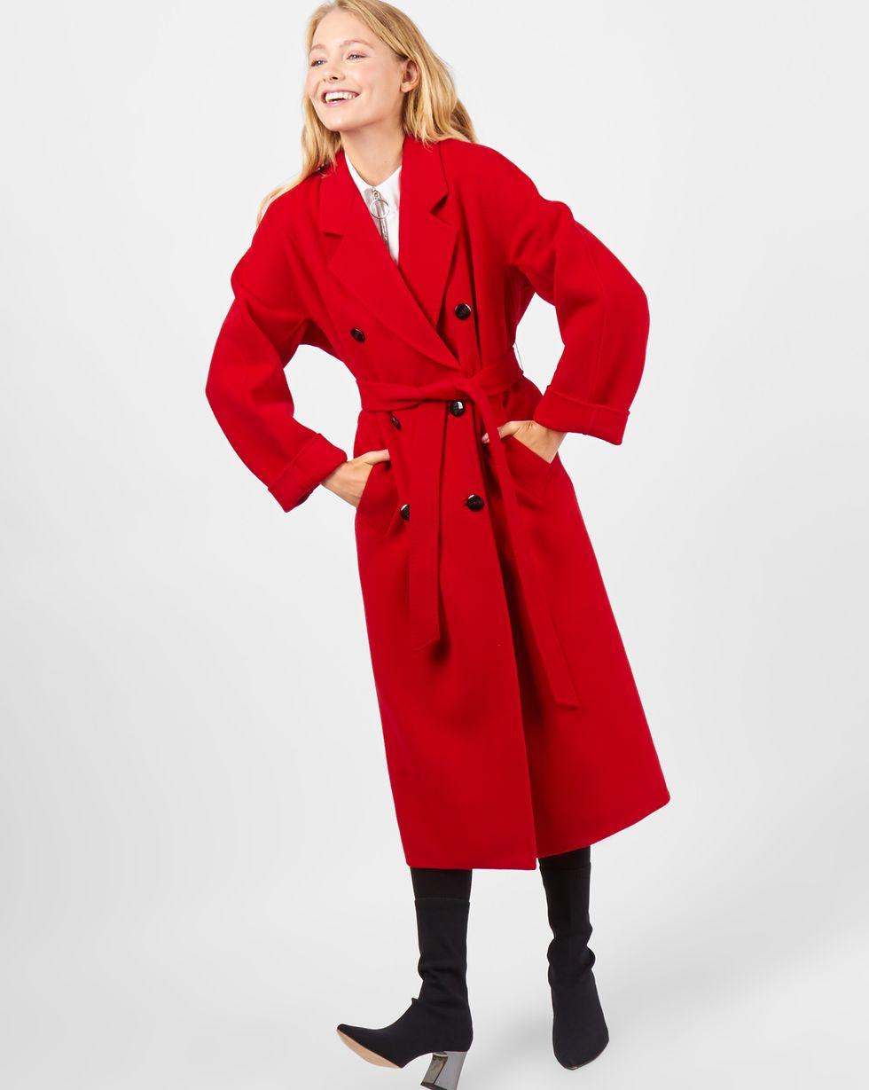 12Storeez Пальто двубортное на поясе (красное) 12storeez пальто двубортное на поясе гусиная лапка серый