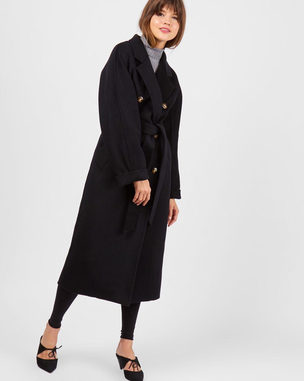 Пальто двубортное на поясе One sizeВерхняя одежда<br><br><br>Артикул: 79910120<br>Размер: One size<br>Цвет: Черный<br>Новинка: НЕТ<br>Наименование en: Double breasted belted coat