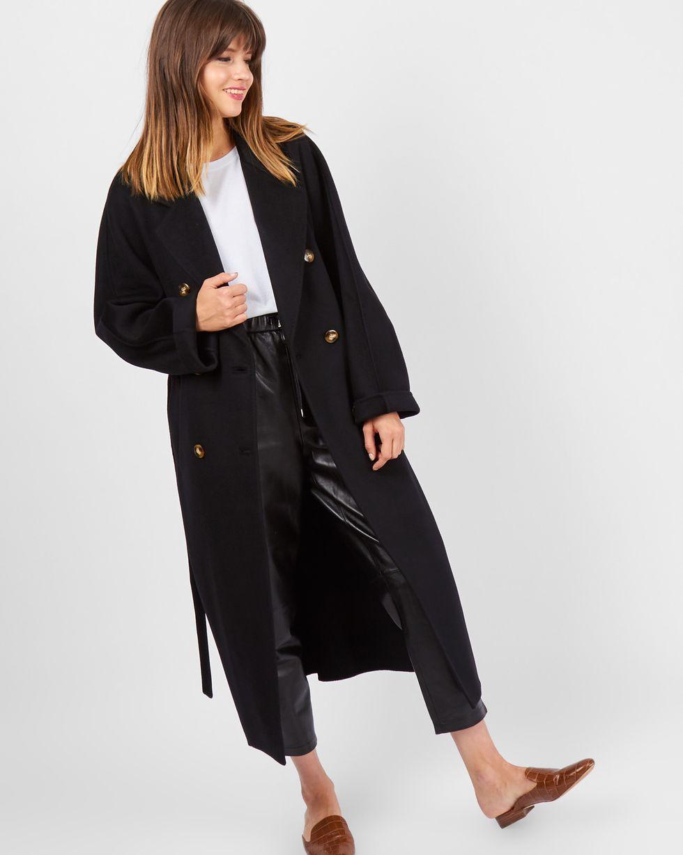 Пальто двубортное на поясе One sizeВерхняя одежда<br><br><br>Артикул: 79910120<br>Размер: One size<br>Цвет: Черный<br>Новинка: ДА<br>Наименование en: Double breasted belted coat