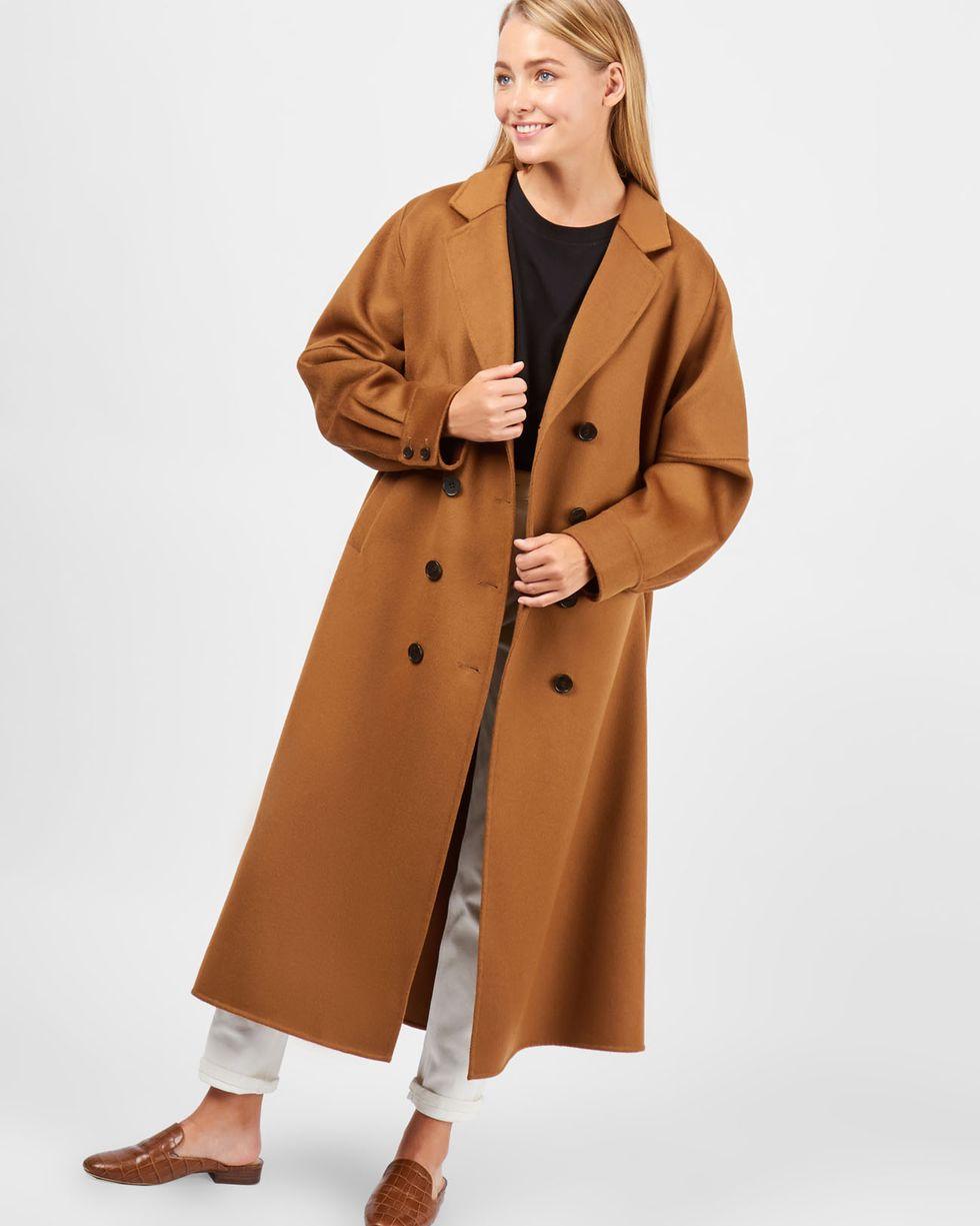 12Storeez Пальто объемное со складкой (горчичный)