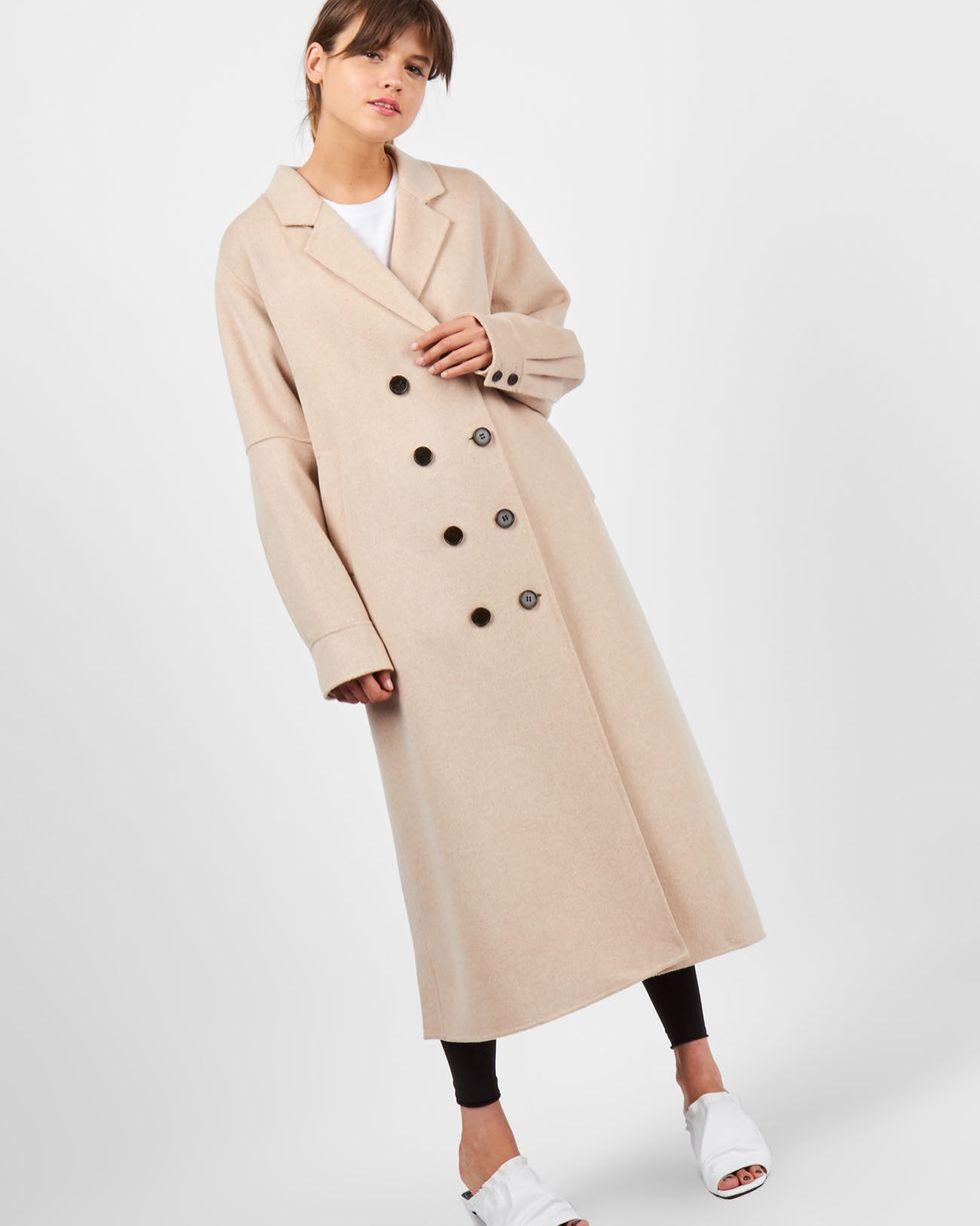 12Storeez Пальто объемное со складкой (кофе с молоком)
