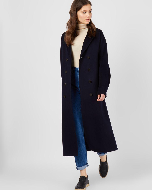 12Storeez Пальто объемное со складкой (темно-синее)