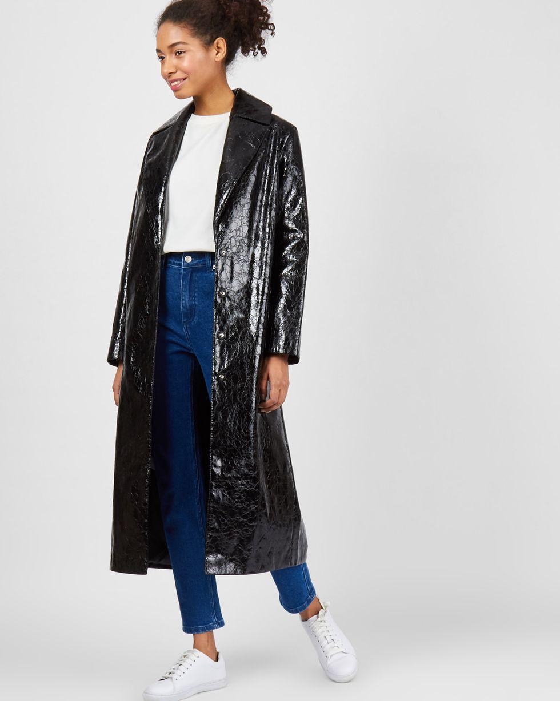 Плащ из искусственной кожи SВерхняя одежда<br><br><br>Артикул: 79910270<br>Размер: S<br>Цвет: Черный<br>Новинка: НЕТ<br>Наименование en: Faux leather trench coat
