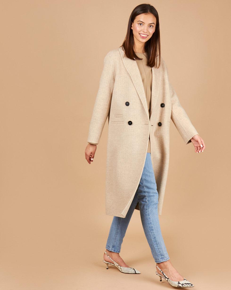 12Storeez Пальто двубортное с фигурным воротником (в елочку светло-бежевый)