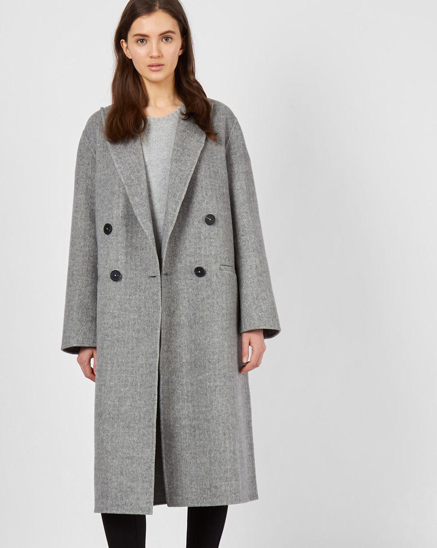 12Storeez Пальто двубортное с фигурным воротником (в елочку -светло-серый)