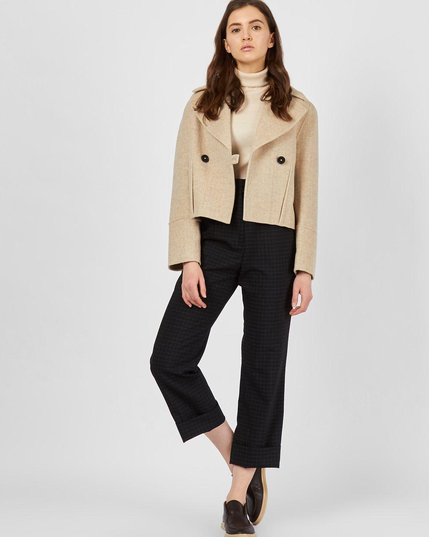 12Storeez Укороченное пальто-жакет (в елочку светло-бежевый) 12storeez жакет из шерсти на пуговицах светло серый
