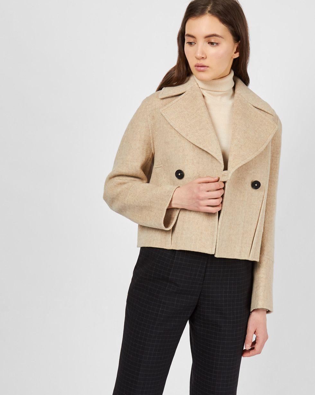 12Storeez Укороченное пальто-жакет (в елочку светло-бежевый)
