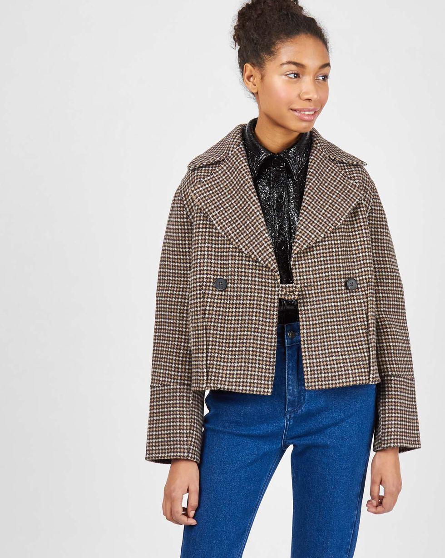 Укороченное пальто-жакет One sizeВерхняя одежда<br><br><br>Артикул: 79911089<br>Размер: One size<br>Цвет: Коричневый<br>Новинка: НЕТ<br>Наименование en: Wool cropped jacket