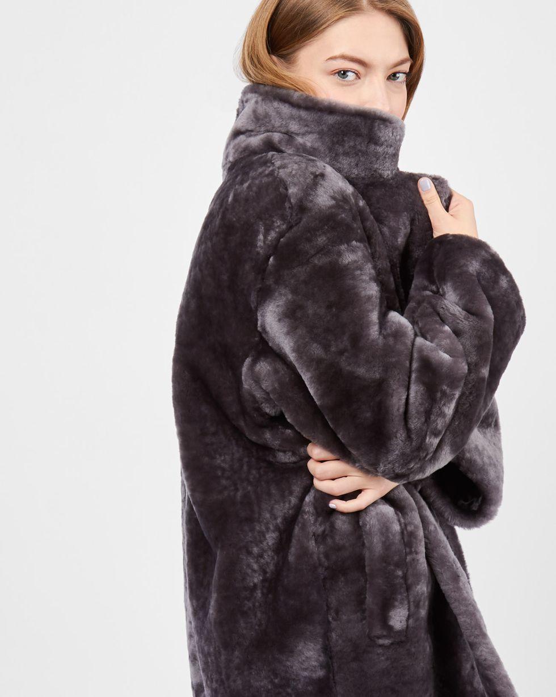 12Storeez Шуба короткая (темно-серый) шуба из меха норки с отделкой натуральной замшей