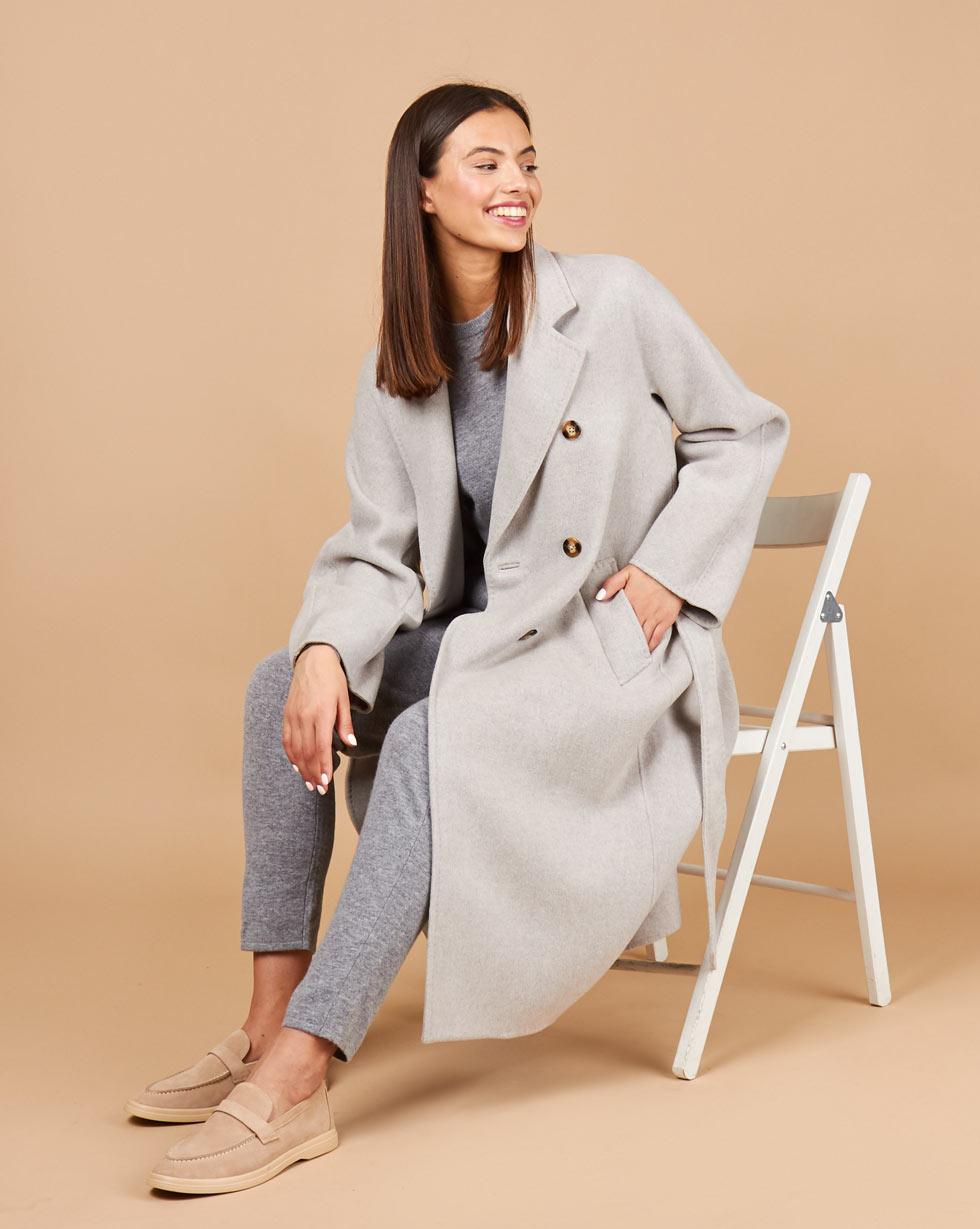 12Storeez Пальто двубортное на поясе (светло-серый) 12storeez пальто двубортное на поясе гусиная лапка серый