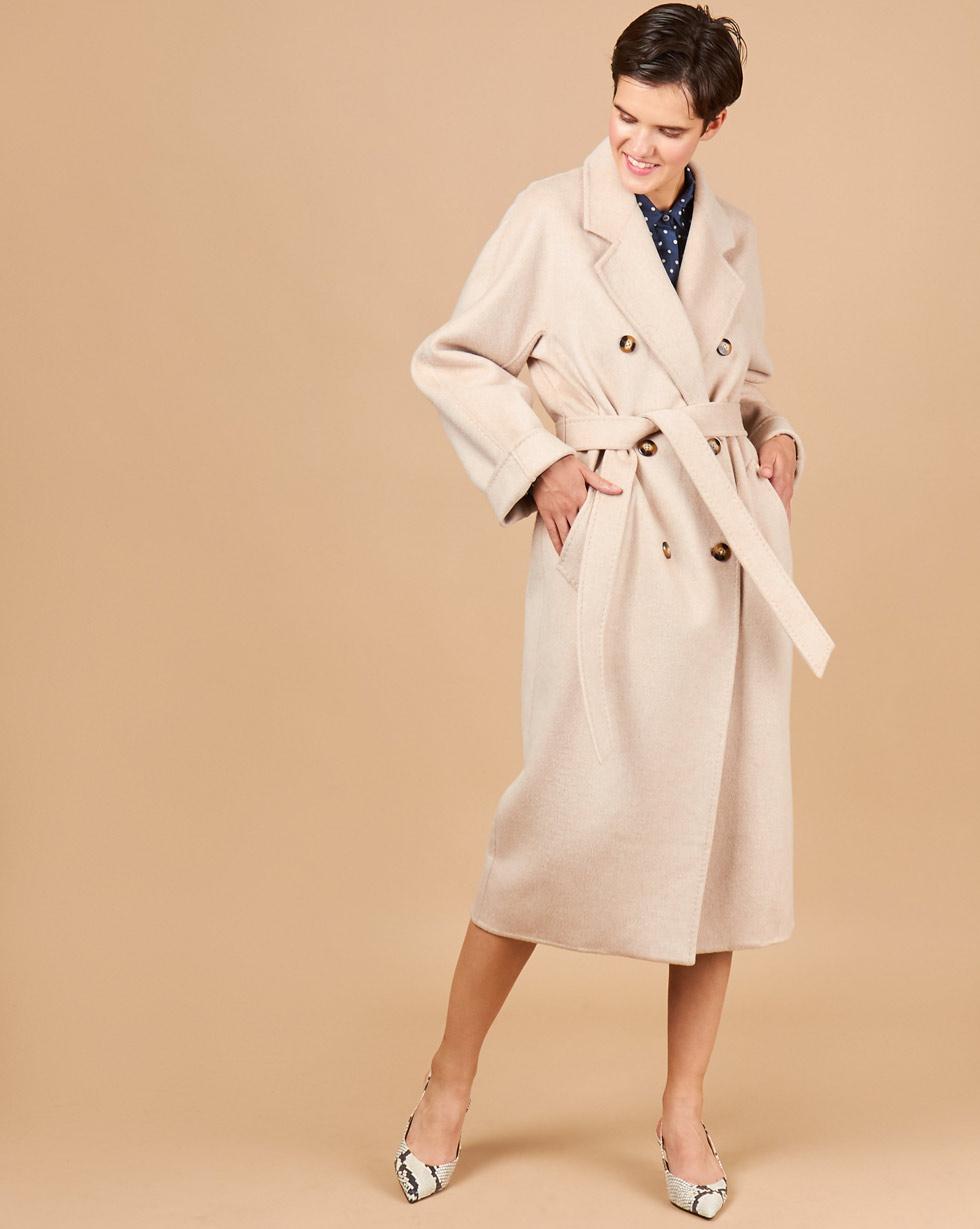 12Storeez Пальто двубортное на поясе (кофе с молоком) 12storeez пальто двубортное на поясе темно горчичное