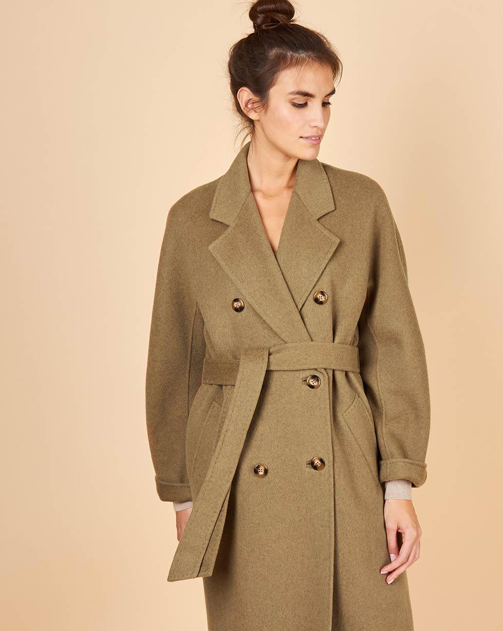 12Storeez Пальто двубортное на поясе (темно-оливковый) 12storeez пальто двубортное на поясе черное